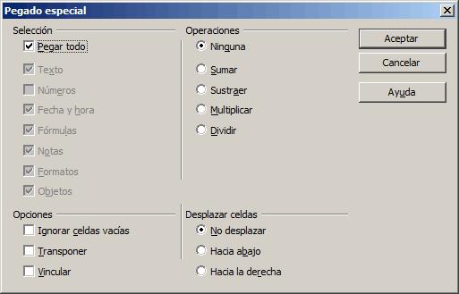 Insertar filas copiadas en Calc