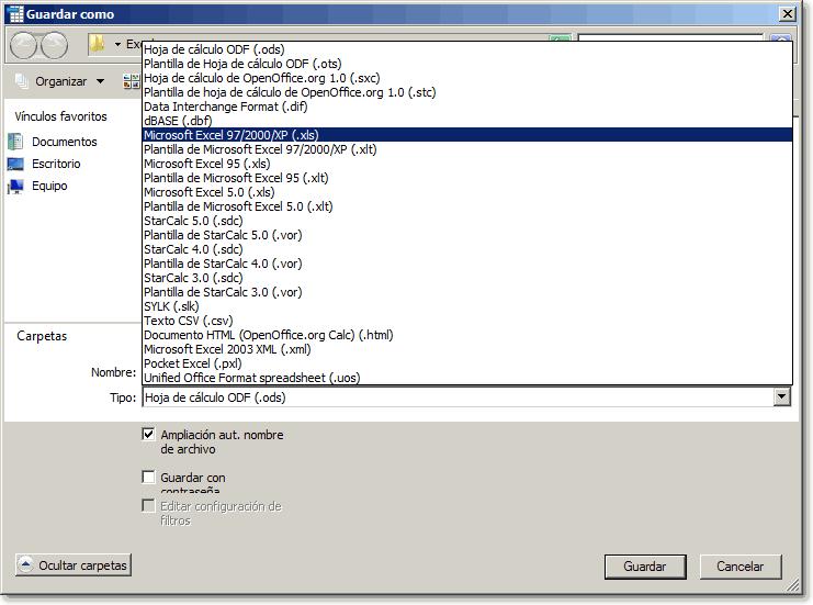 Guardar como documento de MSO Excel Manual de Apache OpenOffice Calc