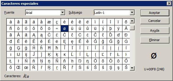 Insertar caracteres especiales - Manual de OpenOffice Writer